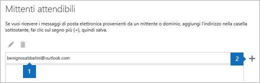 Screenshot della pagina Mittenti attendibili.