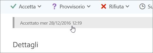 Screenshot che mostra che l'evento del calendario è stato accettato.