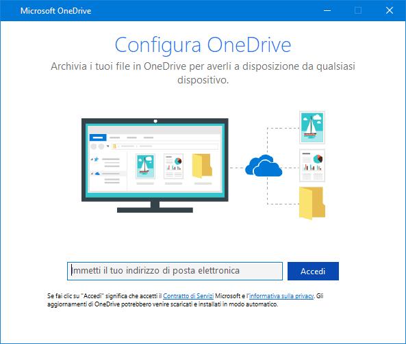 Nuova interfaccia utente schermata di configurazione di OneDrive