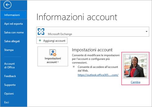 Collegamento cambia foto in Outlook