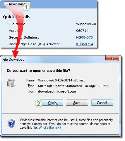 Select Downloadin the download page for KB960714. A window showing File Downloadappears, select Opento install the file automatically after downloading.