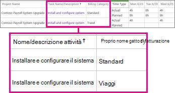 Due righe di una scheda attività con categorie diverse