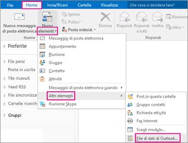 Scegliere Nuovi elementi > Altri elementi > File di dati di Outlook.