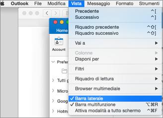 Selezionare Visualizza > Barra laterale per visualizzare l'elenco delle cartelle