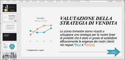 Presentazione con una diapositiva contenente un grafico e testo con due collegamenti ipertestuali