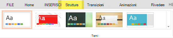 I temi di progettazione si trovano nella scheda Progettazione della barra multifunzione