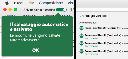Barra multifunzione di Excel con la bolla del salvataggio automatico a sinistra e un elenco della cronologia delle versioni a destra