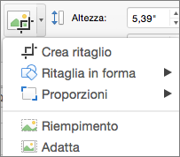 Menu Ritaglia in PowerPoint per Mac