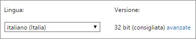 Screenshot che mostra come selezionare una lingua e quindi selezionare Avanzate