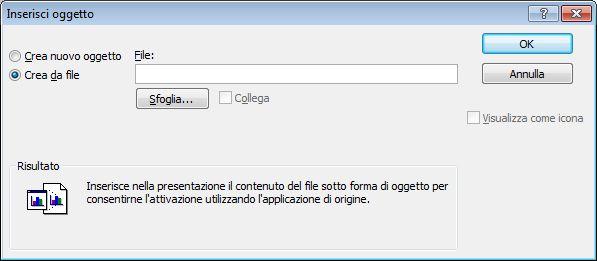 Finestra di dialogo Inserisci oggetto, opzione Crea da file selezionata
