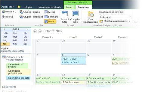 Utilizzo di più calendari in SharePoint