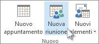 Comando Nuova riunione sulla barra multifunzione