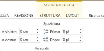 Immagine del comando Strumenti tabella visualizzato nella parte superiore della barra multifunzione quando si fa clic in un punto qualsiasi della tabella