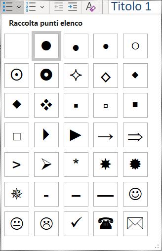 Screenshot della selezione di un elemento di un elenco puntato nel menu Home.