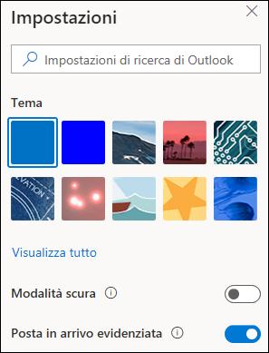 Una schermata mostra il riquadro impostazioni con l'opzione posta in arrivo evidenziata selezionata per attivare.