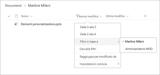 Riquadro di filtro con le selezioni di intestazione di colonna