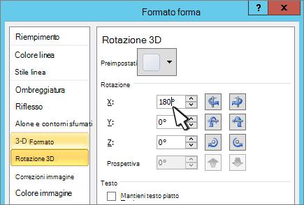 Finestra di dialogo Formato forma con rotazione 3D X selezionata