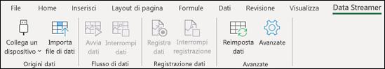 Componente aggiuntivo Data Streamer nel menu barra multifunzione di Excel