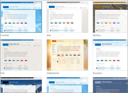 Pagina di SharePoint Online che mostra le immagini dei modelli di sito