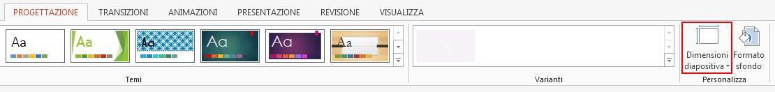 Nel gruppo Personalizza della scheda Progettazione fare clic su Dimensioni diapositiva.