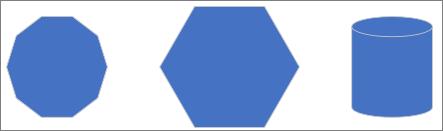 Distribuzione di tre forme