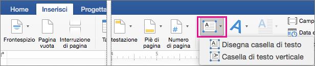 Opzione Casella di testo evidenziata nella scheda Inserisci