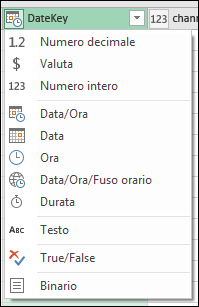 Power Query - Indicatore del tipo di colonna nelle intestazioni di colonna dell'anteprima dell'editor di query