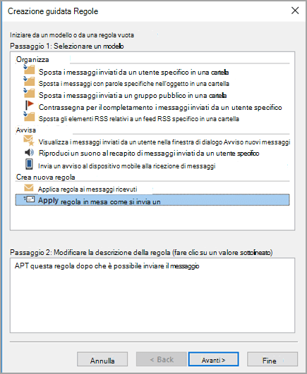 Selezionare Applica regola ai messaggi inviati