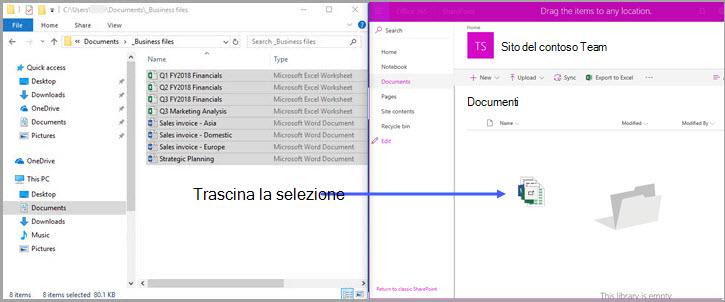 Raccolta documenti di SharePoint Office 365 - trascinamento della selezione