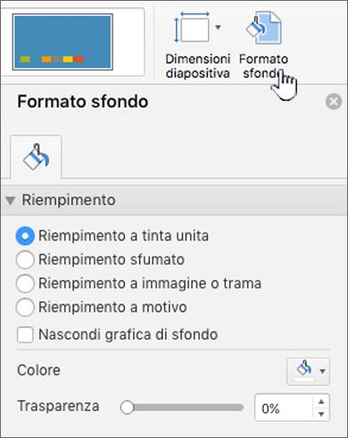 Impostazione del formato dello sfondo