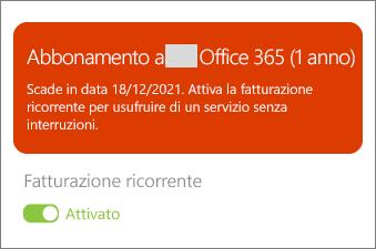 Rivedere i dettagli dell'abbonamento a Office 365