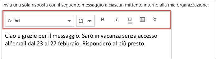 Messaggio di risposta automatico di Outlook sul Web