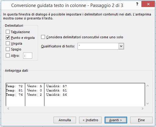 """Seconda pagina della """"Conversione guidata testo in colonne""""."""