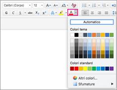 Selezione colori carattere in Outlook per Mac
