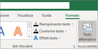 Pulsante testo alternativo nella barra multifunzione di Excel per Windows