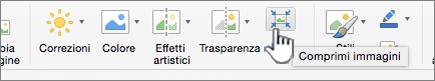 Nella scheda immagine selezionare Comprimi immagini
