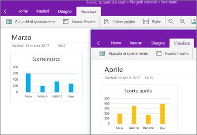Due istanze di OneNote in esecuzione con diverse note visualizzate