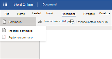 Documento di Word con le opzioni Sommario visualizzate
