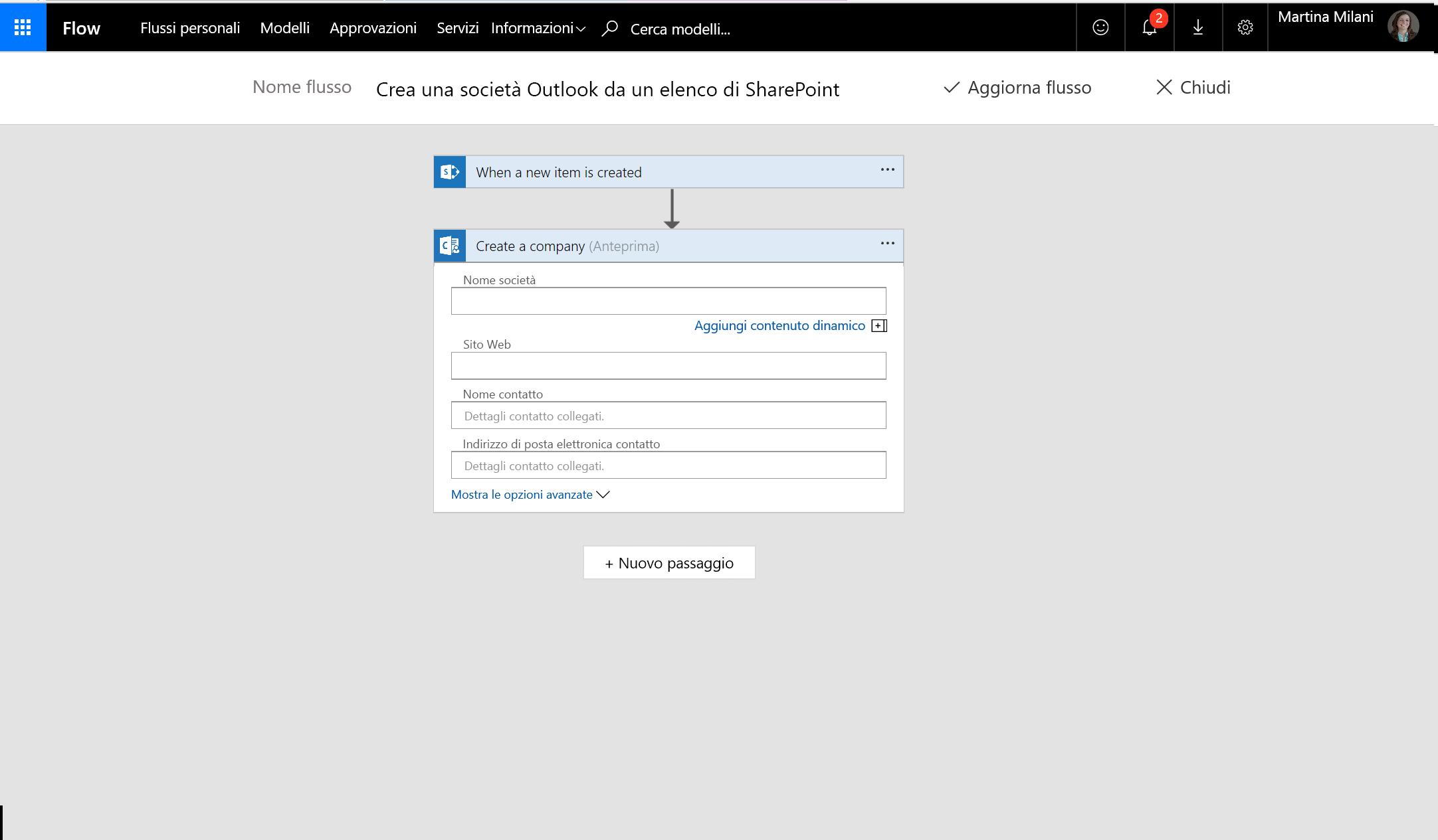 Screenshot che illustra come creare società utilizzando flusso
