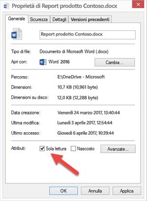 Deselezionare la casella Sola lettura per modificare e salvare il file.