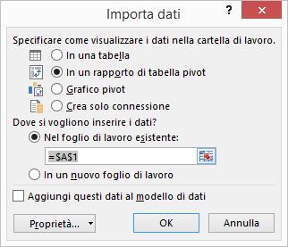 Connessione guidata dati > Importa dati