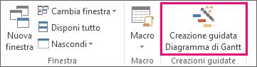 Fare clic su Creazione guidata Diagramma di Gantt per creare più facilmente il nuovo diagramma.