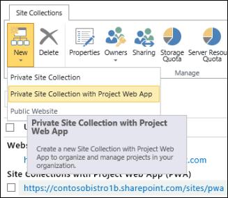 Novità > Raccolta siti privata con Project Web App