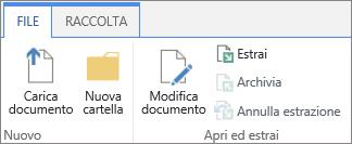 Cluster di pulsanti della sezione Apri ed estrai della barra multifunzione File