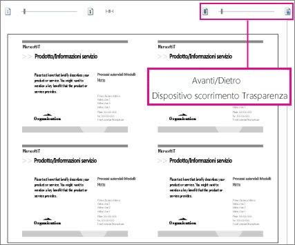 Dispositivo di scorrimento dell'anteprima di stampa per visualizzare sia il lato anteriore che quello posteriore della pubblicazione e verificare che siano allineati correttamente.