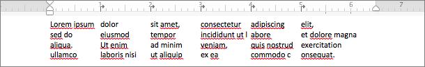 Esempio dell'uso delle tabulazioni per creare colonne