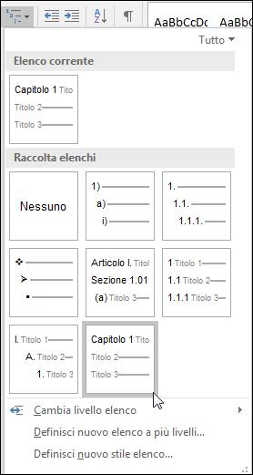 Usare l'elenco a più livelli Capitolo o Titolo per formattare i titoli dei capitoli da includere nelle didascalie.