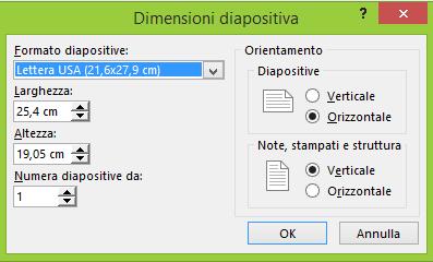 Definire le impostazioni delle diapositive nella finestra di dialogo Dimensioni diapositiva.