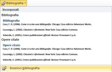 Fare clic su Inserisci bibliografia