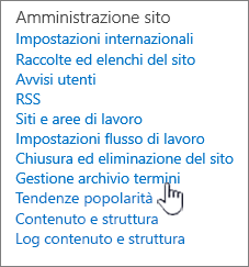 Termine collegamento di gestione archivio in Impostazioni sito